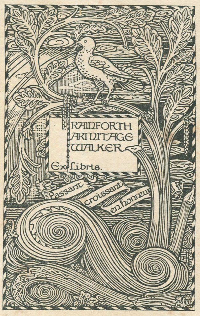 Bookplate of Rainforth Armitage Walker (1886-1967), designed by James Guthrie (1874-1952)