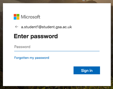 Enter Student Password screen