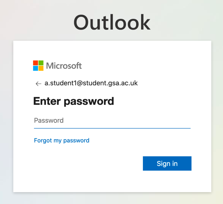 student email password screen shot